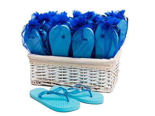 Modo Flip Flops Blue Wedding Party in Cestino di Vimini - 20 Paia
