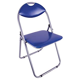 Anika Home 69220 Paris Faux Leather Padded Folding Chair Home Office Dining, 79.5cm x 46cm x 43.5cm, Blue