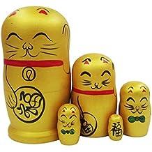 Puppen & Zubehör 5 Stück Russische Holz Verschachtelung puppe Dolls Matroschka Glück Katze