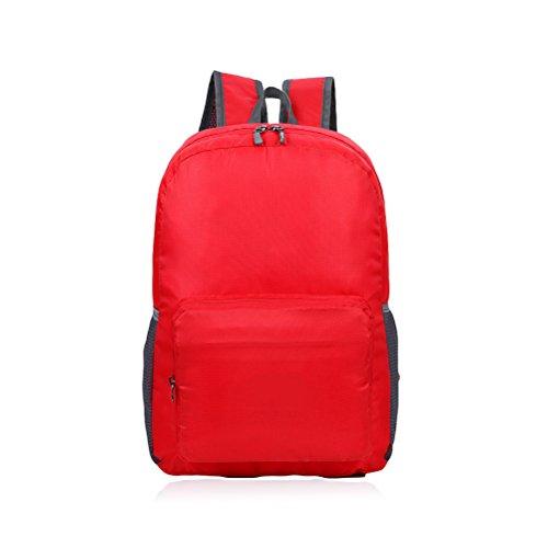 Odowalker escursioni zaino borsa fasciatoio mamma durevole 30l pieghevole, leggero 0,2kilogram double-shoulder bag zaino da viaggio alpinismo, campeggio grande capacità impermeabile zaino, Red Red