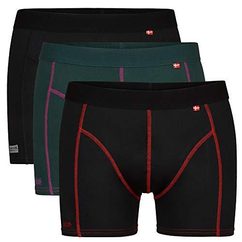 DANISH ENDURANCE Herren Sport Boxershorts 3 Pack (Mehrfarbig (1 x schwarz, 1 x grün/lila, 1 x schwarz/rot), Medium)