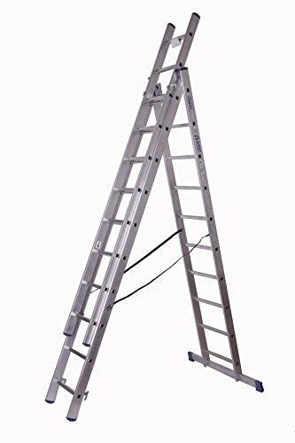 Alu-Schiebeleiter 3x10 Stufen/Sprossen, Arbeitshöhe: 6,8m, 276x48x17, Aluminium, Marke: Szagato (Mehrzweckleiter/Stehleiter, Anlegeleiter, Aluleiter, Kombileiter, Leiter)