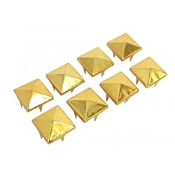 Trimming Shop 100 x 8mm Spike Square Studs Rivets in Gold for Leather Clothing Bags Jeans Craft - Punk Pyramid Studs for Embellishment