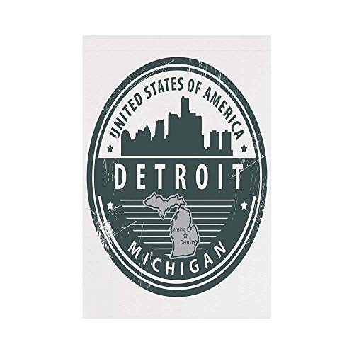 Liumiang Eco-Friendly Manual Custom Garden Flag Demonstration Flag Game Flag,Detroit Decor,Damaged Old Stamp of Michigan USA with City Map Location Tourism Icon Decorative,Black White Greyoo décor