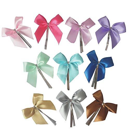 50 Stück Band Schleife Handarbeit, Geschenkschleife,Dekoschleife Schmetterlinge für Bonbons Taschen / Cellophanbeutel / Süßigkeiten / Brot / Xmas Geschenk / Hochzeit / Autodeko etc - (Violett)
