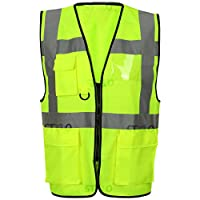 Executive Hi Viz Vest High Vis Visibility Zip Vests Reflective Security Work Contractor Safety Workwear Waistcoat Jacket Top Size S-5XL