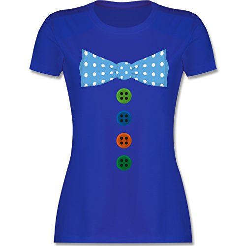 Karneval & Fasching - Clown Kostüm Blaue Fliege - M - Royalblau - L191 - Damen T-Shirt Rundhals