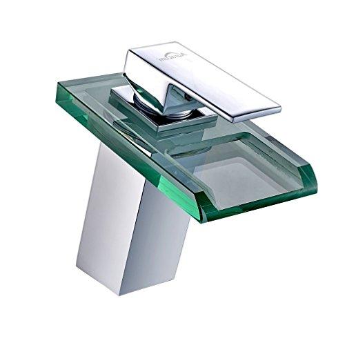 Auralum Glas Wasserhahn Waschbecken Armatur Waschtischarmatur LED RGB Licht und Modell Wählbar (Type B, mit LED RGB Licht) (Grünes Glas Dass Leuchtet,)