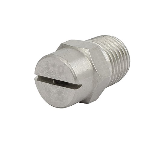 sourcingmap 1/4BSP 2,4mm orifice dia vaporisation acier Inox 110 Degré embout plat