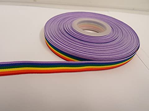 2 metres x 10mm Rainbow Ribbon, Multi coloured, Gay Pride Colour Stripe, double sided LGBT 10 mm