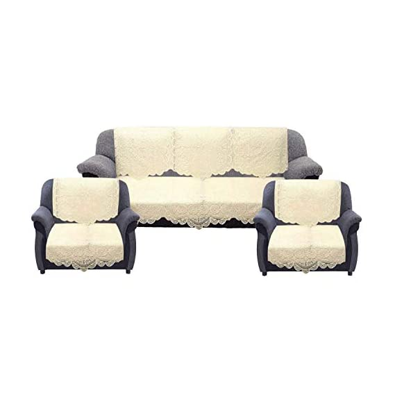 VIRTUAL WORLD Net Polyester Fabric 5 Seater Sofa and Chair Cover (Cream) Set of 10 Pieces