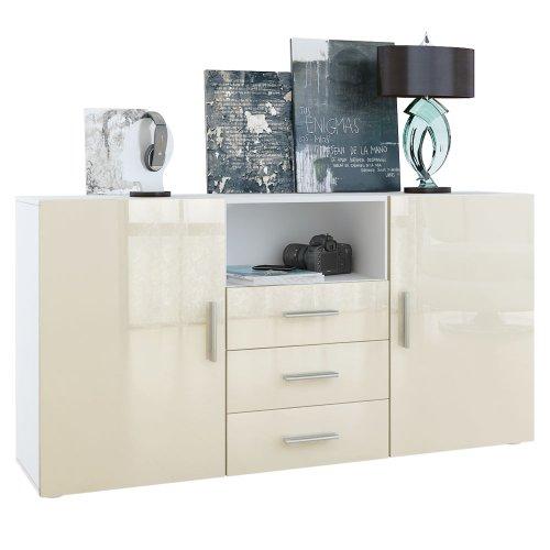 Vladon Sideboard Skadu, Korpus in Weiß matt/Fronten in Creme Hochglanz - Creme Sideboard