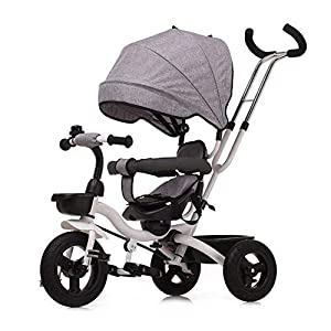 GSDZSY - Children Tricycle Foldable, Detachable Putter And Fence, Waterproof And UV Protection Awning, Rubber Wheel, Suitable For 1-5 Years Old Baby   15