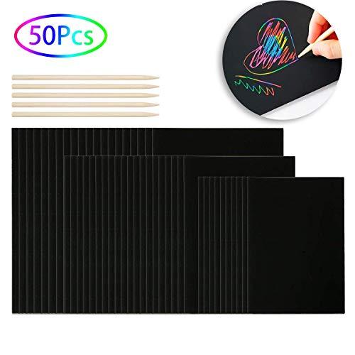 Funhoo 50 paquetes de Papel de Rayar Con arco iris con 5 estilográficas de Madera para Niños, Arte, Artesanía Colorido dibujo tableros de pintura mágica (32 K, 16 K, tamaño de papel A4)