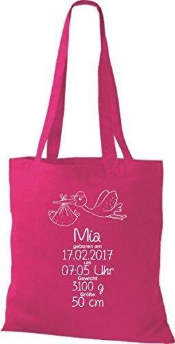Shirtstown Stoffbeutel ein tolles Geschenk zur Geburt mit deinen persönlichen Initilien Storch Pink