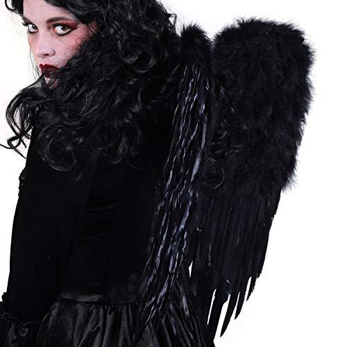 Krähe Flügel Kostüm - Engelsflügel Damen Schwarz 30 x 45 cm mit Federn & Plüsch gefaltet | Premium Feder-Flügel für Engelskostüm | Kostüm-Zubehör für Karneval Fasching & Halloween