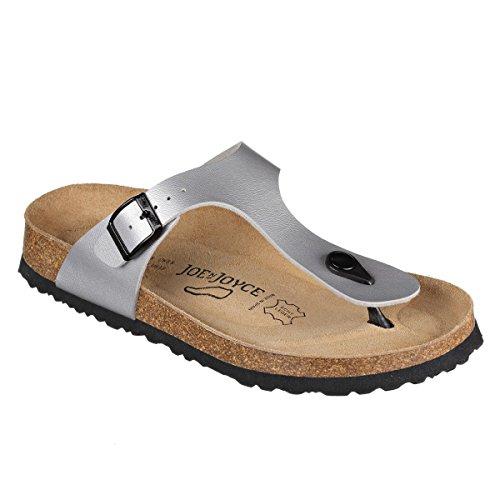 JOE N JOYCE Damen Rio SynSoft Soft Fußbett Zehentrenner Silver Größe 41 EU Normal