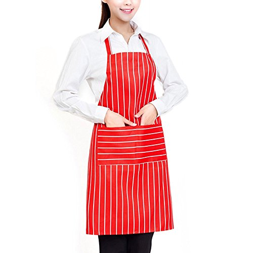 Alxcio Küchenschürze Professionelle Streifen Köche Schürze Latzschürze für Frauen Männer Chef Backen Schuerze mit Taschen, Rot Nadelstreifen