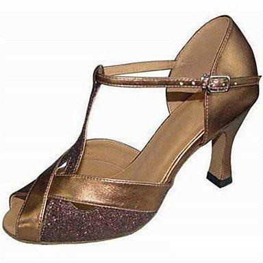 Silence @ Chaussures de danse pour femme Paillettes étincelante Paillettes scintillantes latine Sandales Talon aiguille Talon Practise débutant extérieur Doré doré