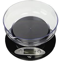 Smart Weigh-Bilancia da cucina digitale, intelligente, modello: CSB2KG, con contenitore rimovibile, 2000g x 0,1g, colore: nero