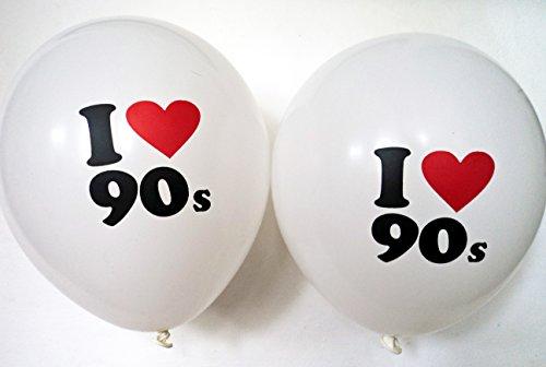 Material Girl 90er Jahre Party Dekorationen - 10 x Ich Liebe 90er Jahre Ballons - Geeignet für Luft Oder Helium