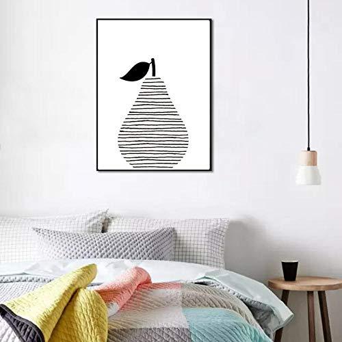 Cartoon Birne Leinwand Kunstdruck Malerei Poster Obst Kunst Wandbilder Für Hauptdekoration An Der Wand Schwarz Und Weiß Küche 50Cmx70Cm -