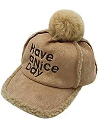 Mitlfuny Niños Niñas Sombreros de Bebé Invierno Caliente Forro de Felpa  Casquillo de Bola de Pelo 16912188d0f