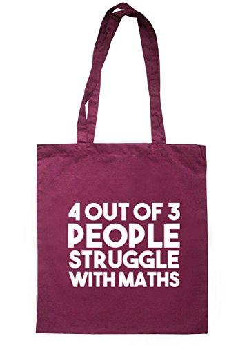 breadandbutterthreads 4fuori 3Persone Struggle Con Matematica Borsa 37,5cm x 42cm con manici lunghi Maroon