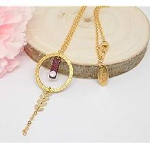 Collier sautoir laiton anneau doré martelé cuir bordeaux avec strass  swarovski crystal ... d5643c3595de
