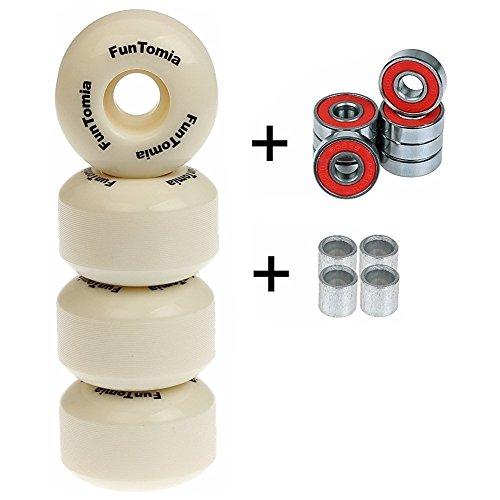 4x funtomia® rainures de profil Skateboard Roues 53x 34mm + Mach1® Roulement à bille/roues rouleaux de remplacement Wheels Dureté 100A, Weiß