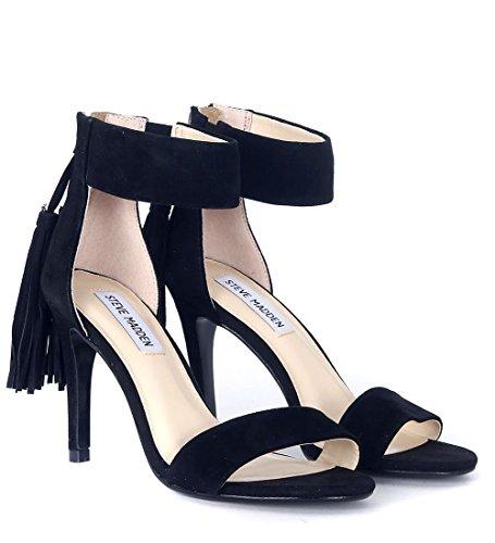 Sandalo Steve Madden Alysonn tacco camoscio zip nero Nero