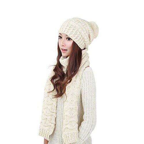 LEORX Donna inverno maglia addensare Hat berretto e sciarpa Set (Cappello Di Inverno Guanti)