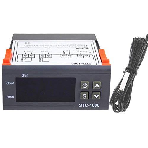 STC-1000 Professional Digital Allzweck-Temperaturregler Thermostat Aquarium mit Sensor-Sonde Kabel - Grau -