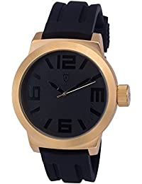 Konigswerk AQ202893G - Reloj de pulsera para hombre (manillas negras, correa de silicona, anillo interior dorado, caja de cuarzo)