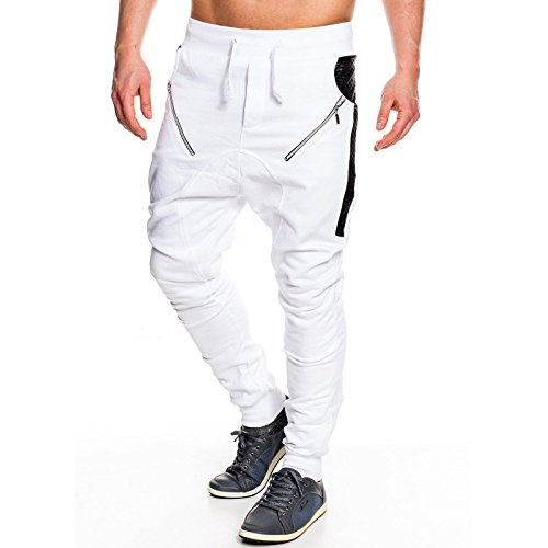 Herren Sweat Zipper Hose Jogginghose Sporthose Trainingshose Freizeithose KD-305 Weiß