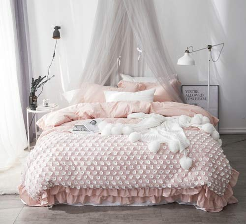 RONGXIE Washed Cotton Applique Floret Bedding Set Quilted Summer Quilt Ruffles Duvet Cover Set Bed Sheet Twin Queen King Size (Bed Queen-size Set Sheet)