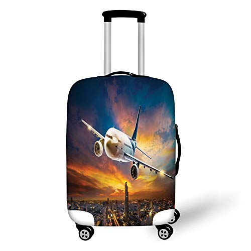 Travel Luggage Cover Suitcase Protector,Travel Decor,Aerial View of Airport with Plane on Air Night Scene Over City Sunset Image,Orange Blue,for Travel S