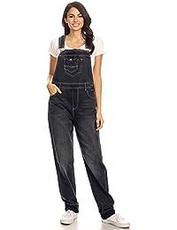 Anna-Kaci Les Femmes Denim Jeans Bleu Poches Jambe Droite de Salopette 4e67954b1578
