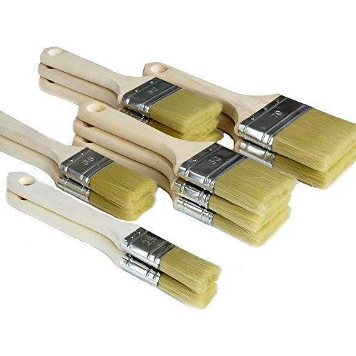 ROTIX Lackierpinsel-Set 12-teilig Flachpinsel für Lasur, Acrylfarben und Wasserlacke| 12 Stück Lasurpinsel Pinselset