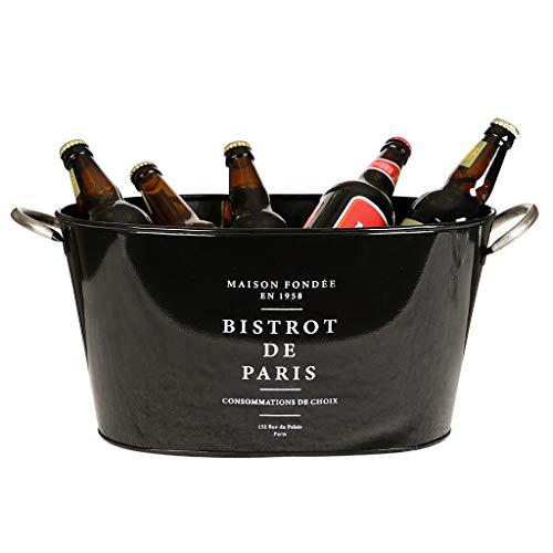 Große Schwarz Gusseisen Paris Bistro Text Wein Flasche Ice Bucket Getränkekühler Wanne
