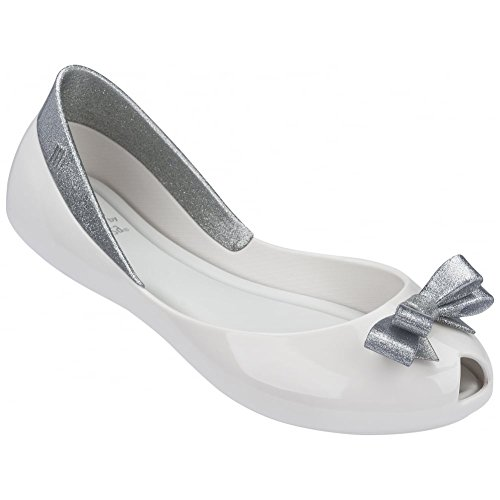 Melissa Shoes Kids Queen Ballet Pumps, Silver Glitter Blanc