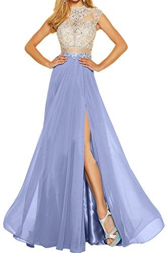 Ivydressing Damen Elegant Zweiteil Chiffon&Tuell Steine A-Linie Partykleid Promkleid Festkleid Abendkleid Lila
