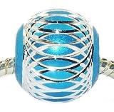 Andante-Stones Silber Bead (Türkis-Blau) mit silberner Verzierung - Element Kugel für European Beads + Organzasäckchen