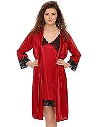 Clovia Women s 2 Pcs Satin Nightwear Set in Maroon   Black - Short Robe    Nightie baddd1359