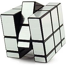 HJXDtech-Shengshou Irregular 3x3x3 Espejo Cubo mágico Profesional Liso Racing Cube (Plata)