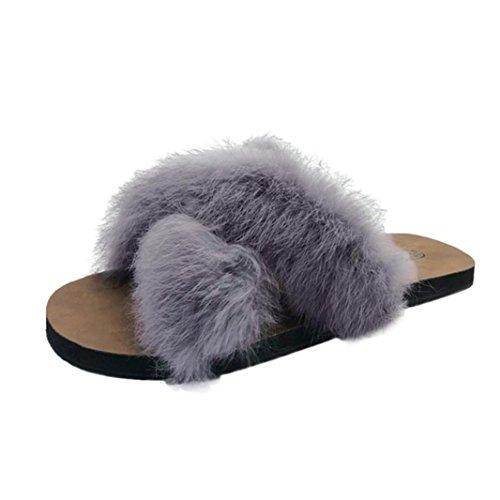 Flachen Slip Hausschuhe Flauschigen Kunstpelz Indoor Outdoor Flache Ferse Sandalen Slipper Freizeitschuhe(Grau,39EU) ()