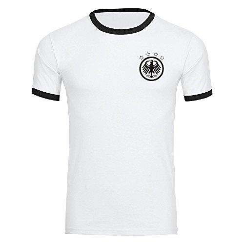 T-Shirt Deutschland Adler Retro Trikot Herren weiß/schwarz Gr. S - 3XL - Fanshirt Fanartikel...