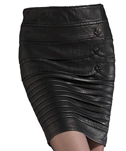 helan-femmes-faux-cuir-slim-pleated-jupe-avec-boutons-eu-38-noir