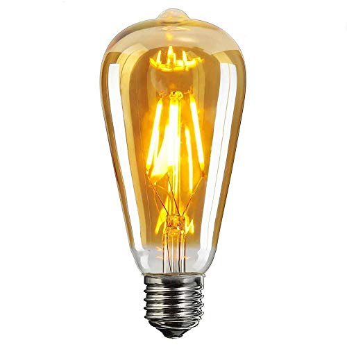 Vintage Edison LED Glühbirne, Elfeland E27 Antike LED Filament Lampe Ersetzt 60W (6W, 2200K, Dimmbar, Beliebtstes Modell ST64) Ideal für Nostalgie und Retro Beleuchtung -