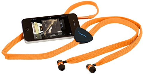 Hi-fun hi-string auricolari antigroviglio con cavo a forma di stringa interamente in tessuto e microfono, arancione